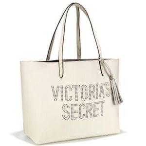 NWT Victoria secret white silver tassel tote bag